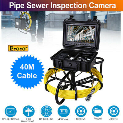 "9"" 40M 8GB DVR Pipeline Drain Inspection Cleaner 1000TVL Waterproof Snake Camera"
