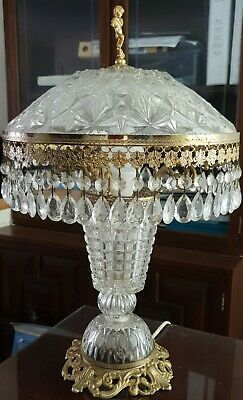 Rare Vintage French Cherub Dome Crystal Glass Chandelier Brass Prism Lamp