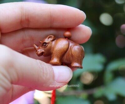 Chinese Peach Wood Wooden Carved Animal Rhinoceros Amulet Pendant Necklace