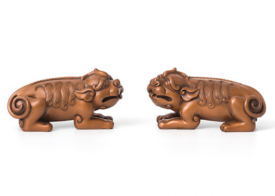 Chinese red copper Wealth foo dog lion Dragon qilin pixiu brave troops sculpture