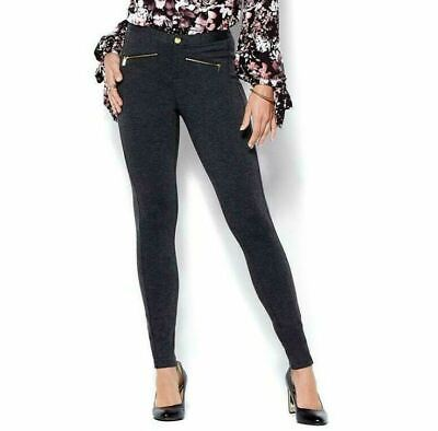 IMAN Global Chic Power Ponte Ankle Pant with Illusion Seaming Gray Size 22 W