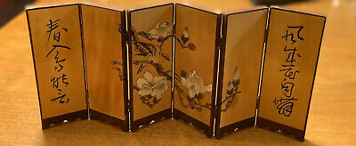 """Japanese 6 Panel Hand Painted Wooden Table Screen With White Flowers, Signed 14"""""""