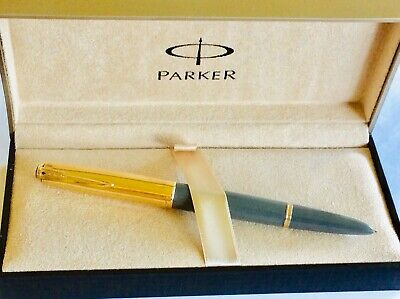 "PARKER ""51"" Blue Diamond 💎Button Fill Fountain Pen Box Dove Grey 16ct Gold Cap"
