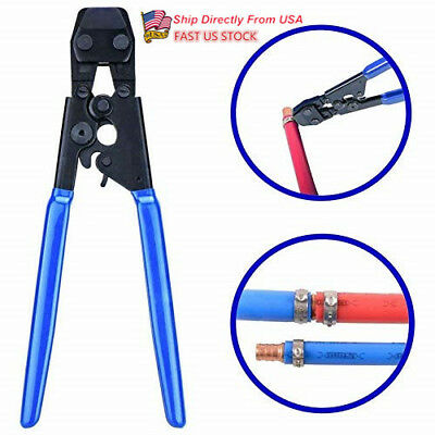 US Stainless Steel Pipe Cinch Crimping Tool  Clamp PEX Connections Crimper Blue