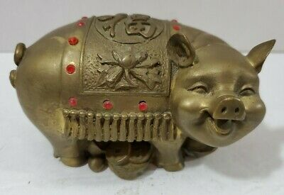 Vintage Chinese Solid Heavy Bronze Detailed Pig Statue Figurine With Red Dots