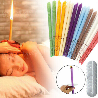 16PCS Scented Beeswax Candle Cleaning Hearing Cones Hollow Wax Ear Kit W/8 Dics