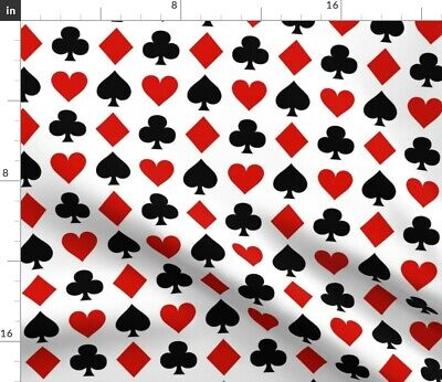 PLAYING CARDS RED BLACK PRINTED FABRIC LYCRA SATIN JERSEY SPANDEX FROM £15.99