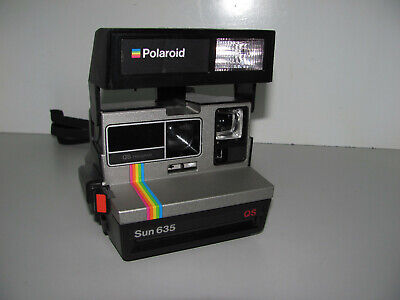 Polaroid Rainbow Stripe Sun 635 QS Instant Film Camera Tested & Working