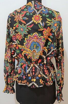**Vintage 1980s Black & Multicoloured Paisley Cotton Top