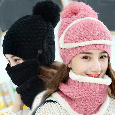 3pcs Women Winter Warm Beanie Hat Scarf Mask Set Knitted Snow Ski Cap Fashion IO