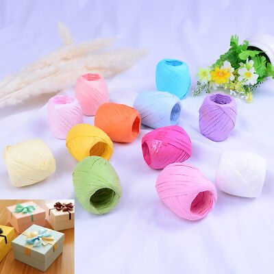 1Roll raffia ribbon cord packaging paper rope packing wedding party decoratio IO