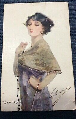 """Vintage Post Card - Signed- The """"Barribal """" Series -Lady Disdain  1918"""