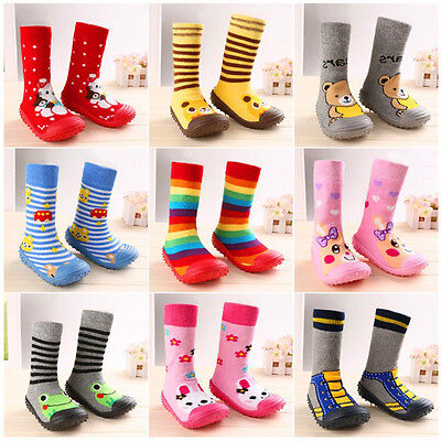Newborn Anti Slip Baby Cotton Baby Socks With Rubber Soles Infant Socks Shoes IO