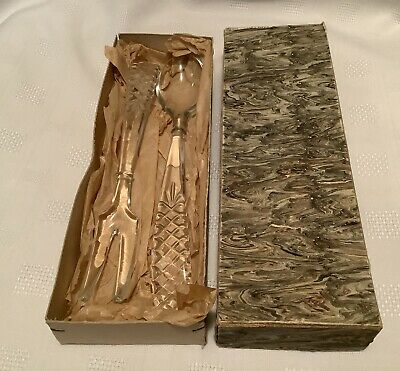 Vintage Crystal Cut Glass Salad Servers In Original Box Fork And Spoon