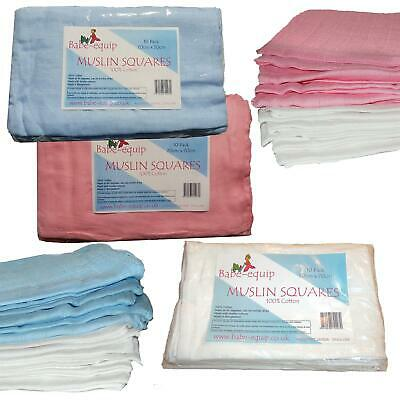 10 Blue  Pink White Muslin Squares Bibs Baby Muslins Nappy Inserts  70x70 cotton