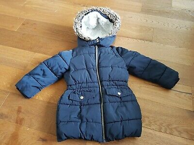 Girls boys unisex quilted navy blue coat 24/36 mths excellent condition