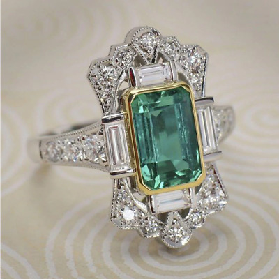 Art Deco Emerald Green & Silver Cocktail Statement Ring antique vintage style