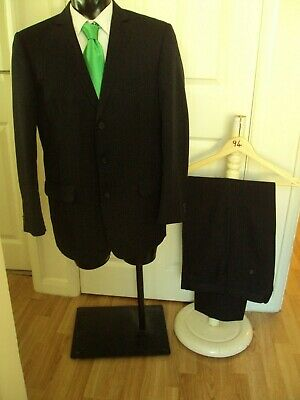 Suit chest 40R waist 34R By Taylor&Wright grey pinstripe 3 button jacket L31(94)
