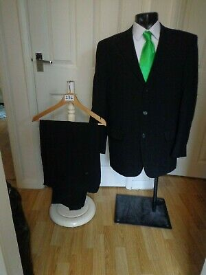 Suit chest 42R waist 36 By Taylor&Wright grey pinstripe 3 button jacket L31(284)