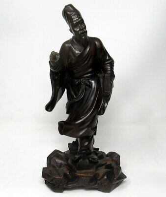 Antique Chinese Carved Wood Figure of Sage Immortal Male Guangxu Period 19th Cen