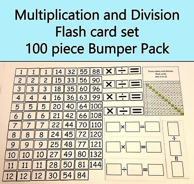 Maths times table division homeschooling interactive flash card mega pack 100pcs