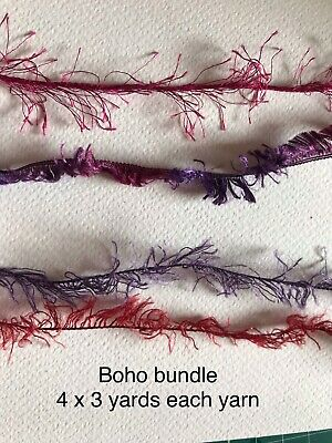 Assorted Mixed Fibres Art Yarn bundle Boho Colours Junk Journal Shabby Chic Tags