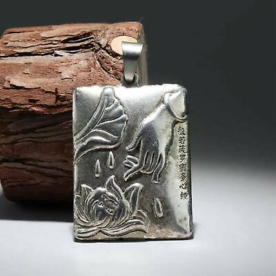Collect Old Miao Silver Hand-Carved Bloomy Lotus & Buddha Hand Buddhism Pendant