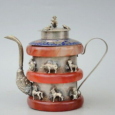 Collectable Old Miao Silver Inlay Agate Carve Twelve Zodiac Auspicious Tea Pot