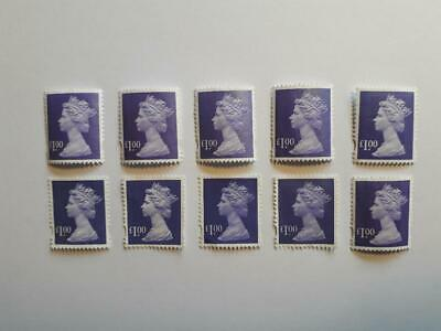10 Unfranked Purple £1.00 Stamps (Off Paper - No Gum)