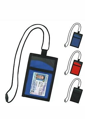 Neck Wallet for Work ID Passport Travel Pouch Students Documents w/ Lanyard