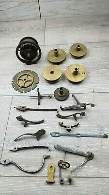 Antique Grandfather clock parts Rope Pulleys, & more lot Spares Repair Craft