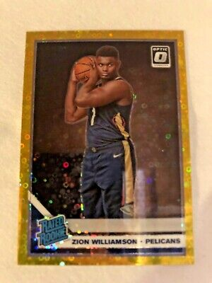 Zion Williamson Rated Rookie Gold 10/10 2019 Panini Donruss Optic
