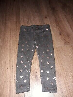 girls grey mickey mouse leggings age 2-3 years from disney