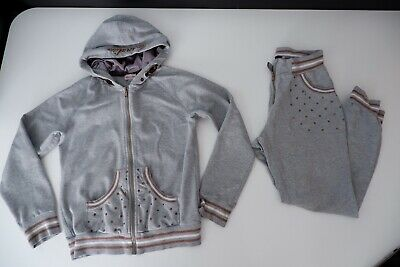 Monnalisa Grey Tracksuit Age 11-12 Years Gc Girls Hoodie & Bottoms