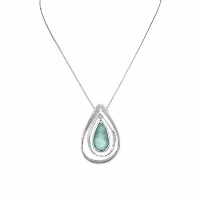 """18"""" Necklace with Ancient Roman Glass and Cut Out Design Pendant"""