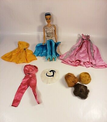 Vintage ORIGINAL 1958 Barbie 1962 Midge DOLL & (3) wigs & 6 pieces of 1962 cloth