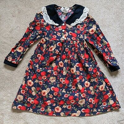 Vtg Girls Bonnie Jean Dress Navy Floral Long Sleeve Lace Velvet Pearl 6 AS IS