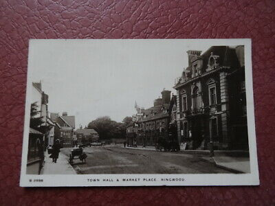 Antique vintage postcard Town hall market place Ringwood real photographic