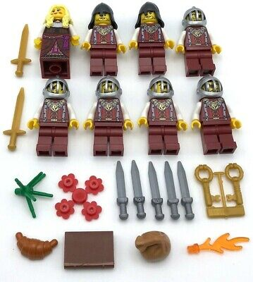 LEGO 8 NEW LION KNIGHT CASTLE MINIFIGURES MEN PEOPLE WITH SWORDS ARMY QUEEN