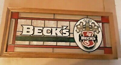 """Vintage Tiffany like  BECK'S Stained Glass  Beer Bar Sign Wood Frame 22"""" X 10"""""""