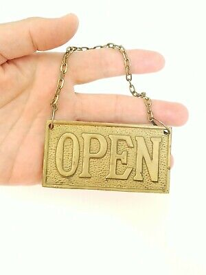 Vintage Small Open / Closed Solid Brass Sign With Chain