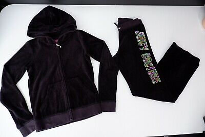 juicy couture tracksuit Black Velour Age 12 Years Hoodie & Bottoms Black Label