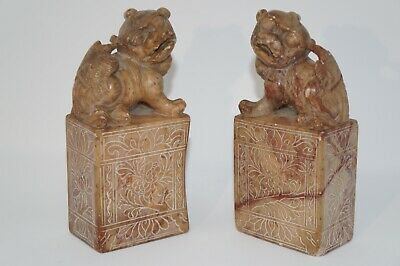 Pair Of Antique Hand Carved Stone Foo Dog Carvings