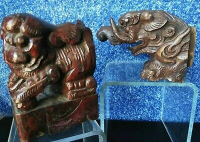 17 &18C 2 PC Chinese CARVED BOX WOOD DRAGON FOO DOG Statue QING Figurine BUST 5""