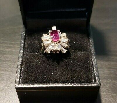 Diamond Ruby Ring - 1.5 carat Ruby - 2.34 carat Diamonds - 14 carat Gold