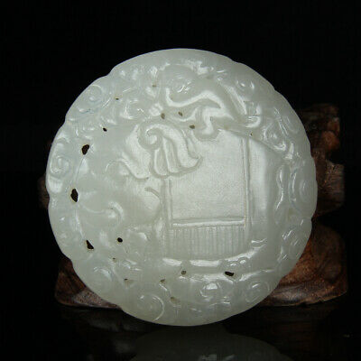 Chinese Exquisite Hand carved Hetian jade buckle statue