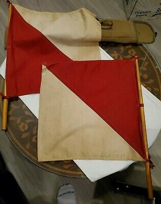 Us Army Signal Corps Flag Kit 2 Red & White Flags Wood Handles.canvas Pouch '58