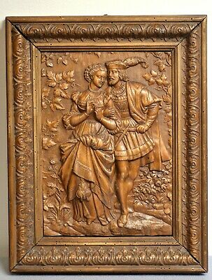 Goethe 's Faust and Margarete Antique 19C Hand Carved Bas-Relief Plaque