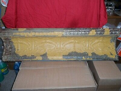 "Vintage Antique Metal Tin Ceiling Trim Tile 48""X14"" Reclaim Salvage"