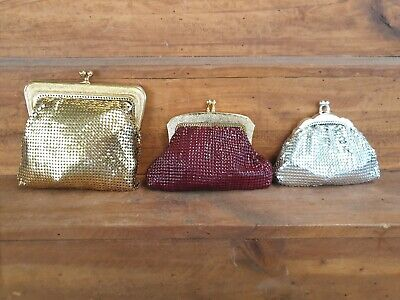 3 Retro Mesh Coin Purses Silver And Burgundy Glomesh  and Gold Oroton